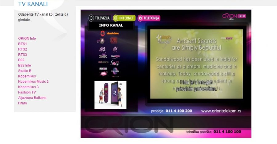 Besplatni online TV kanali za Orion korisnike