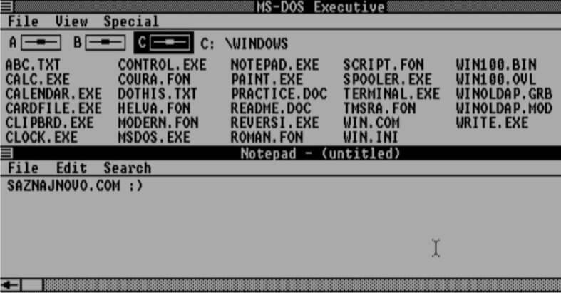 Isprobajte Windows 1.01 u vašem internet pregledaču!