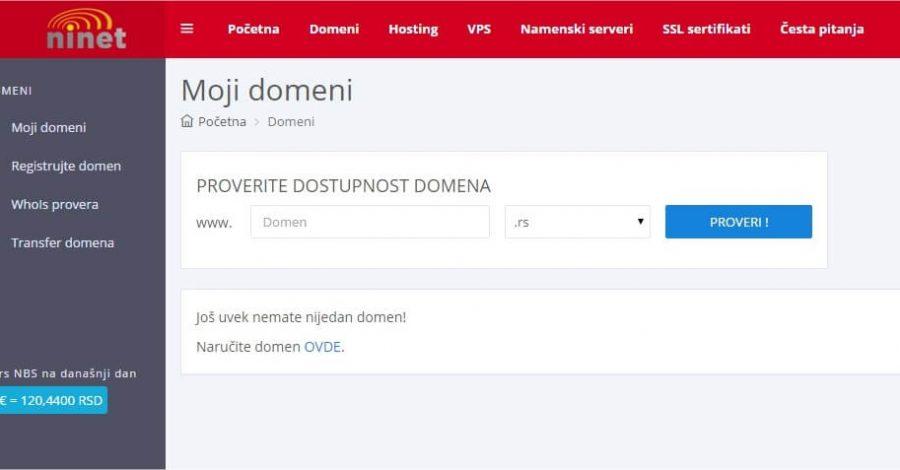 NiNet Hosting – novi panel za korisnike