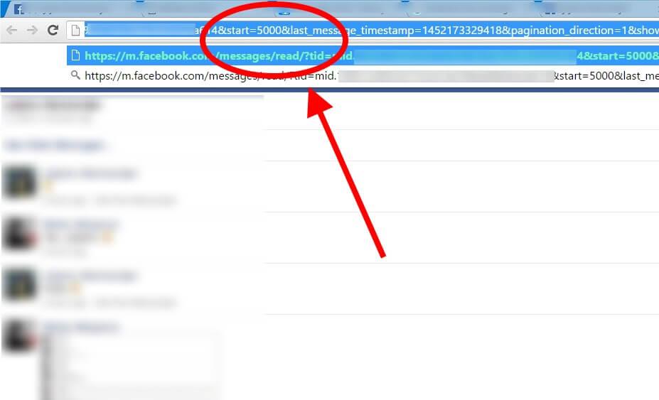 find first facebook message