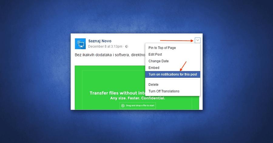 Kako omogućiti obaveštenja za Facebook objave bez ostavljanja komentara?