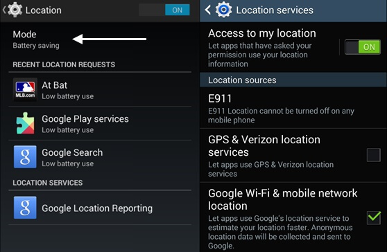 location settings android